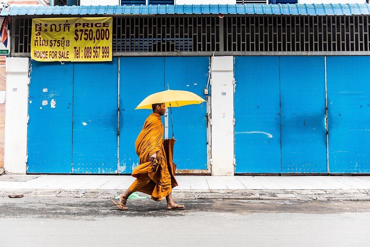 Strolling Monk, Phnom Penh, Cambodia. Digital Print