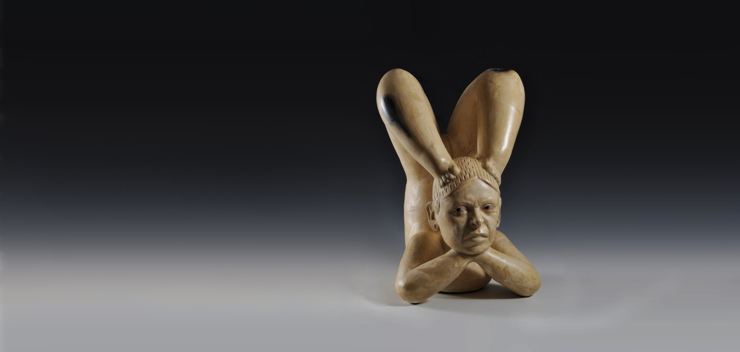 """Kukuli Velardes- """"India Patarrajada, She will do all the acrobatics the Master orders,"""" Mexico, 1200-1800 BC, 2008, white clay, wax casien paint, resin"""