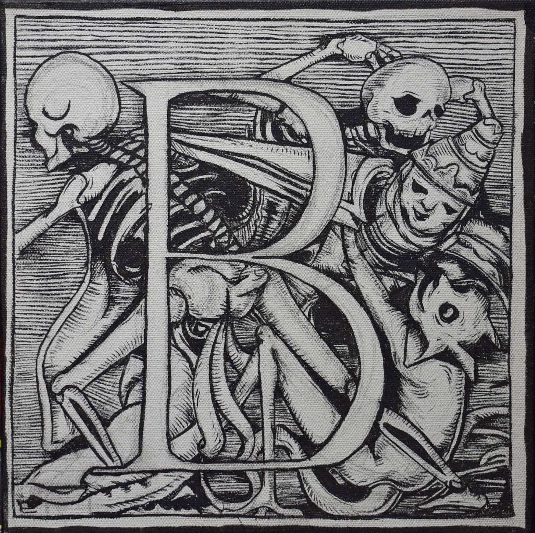 "Joe Ded, ""Dance of Death Alphabet"", 10 x 10"