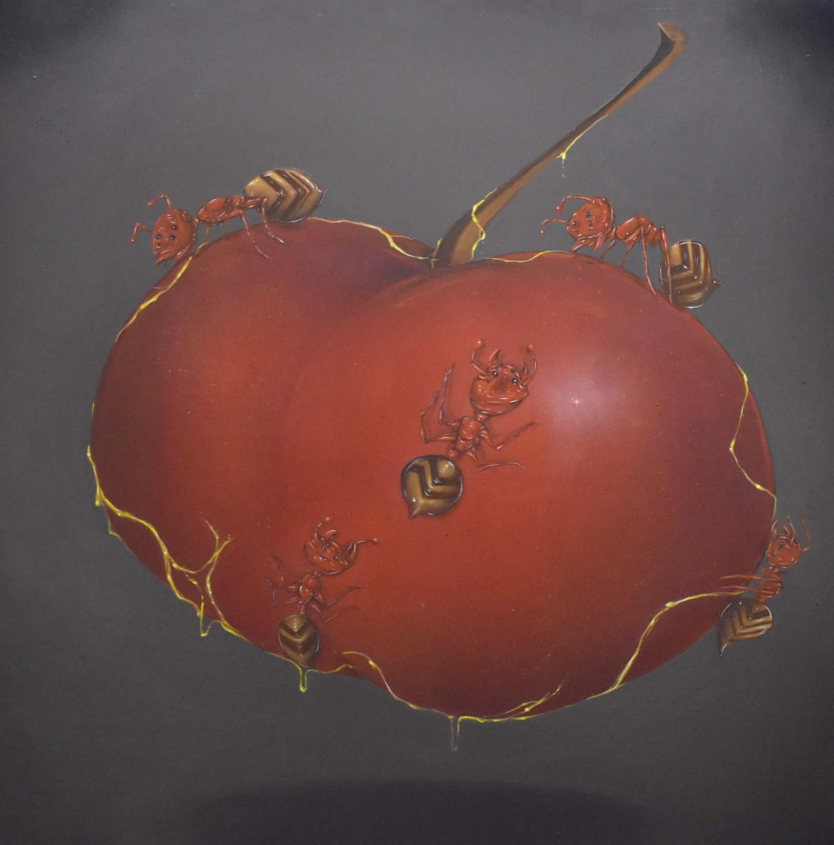 """Joe Ded, """"Fire Ants Walk With Me"""" 36 x 36, Progress Gallery"""