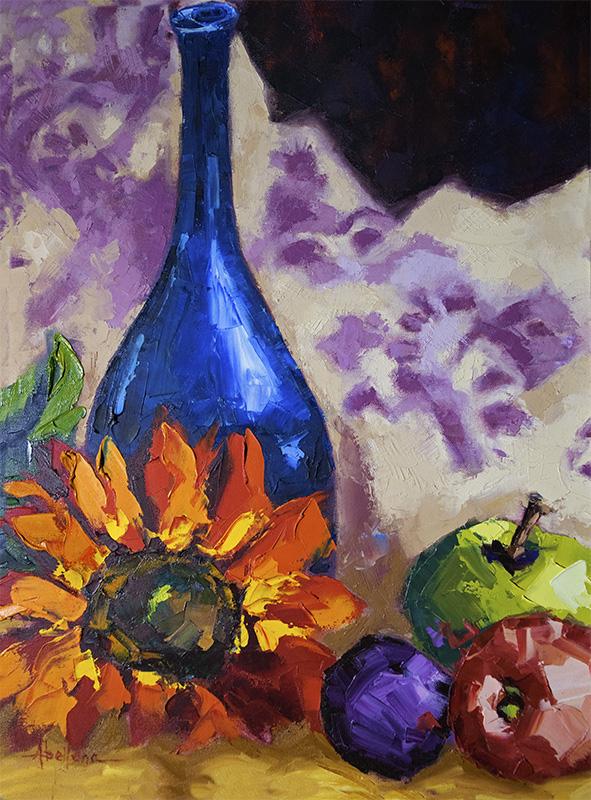 Charisse Abellana.  Blue Perfume Bottle.  Latino Art Museum