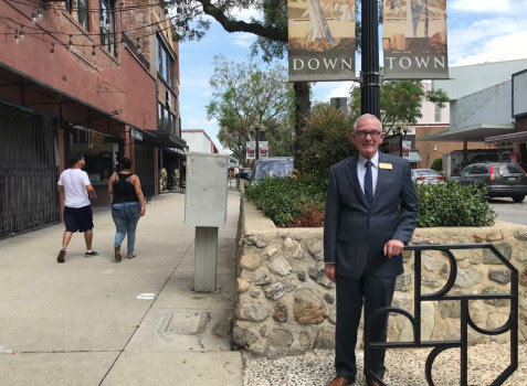 Larry Egan, executive director of the Downtown Pomona Owners Association, helped win its renewal for another decade. (Photo by David Allen)
