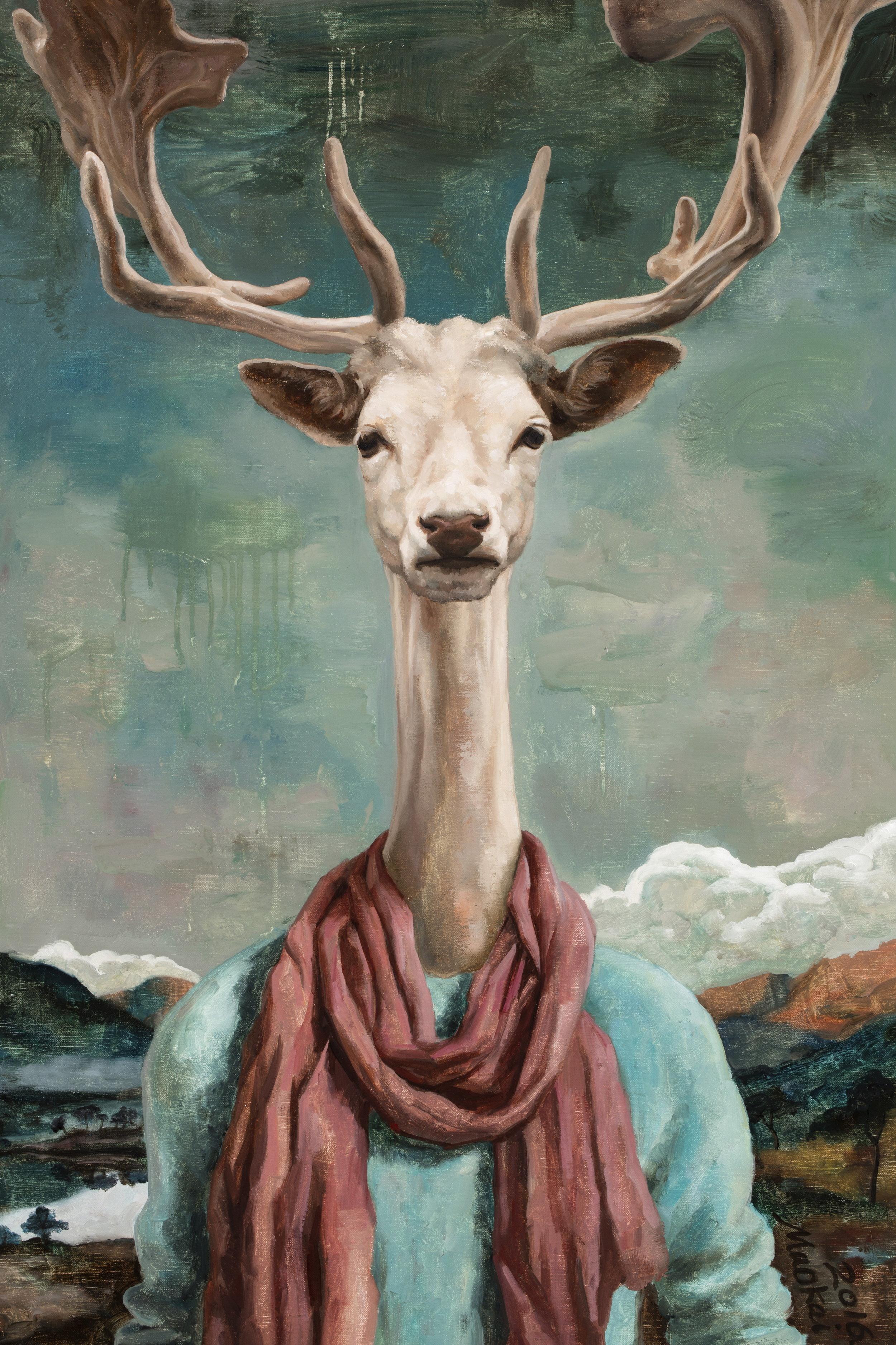 Kai Mao, Mr. Deer, 2016 Oil On Linen ,90x60 cm