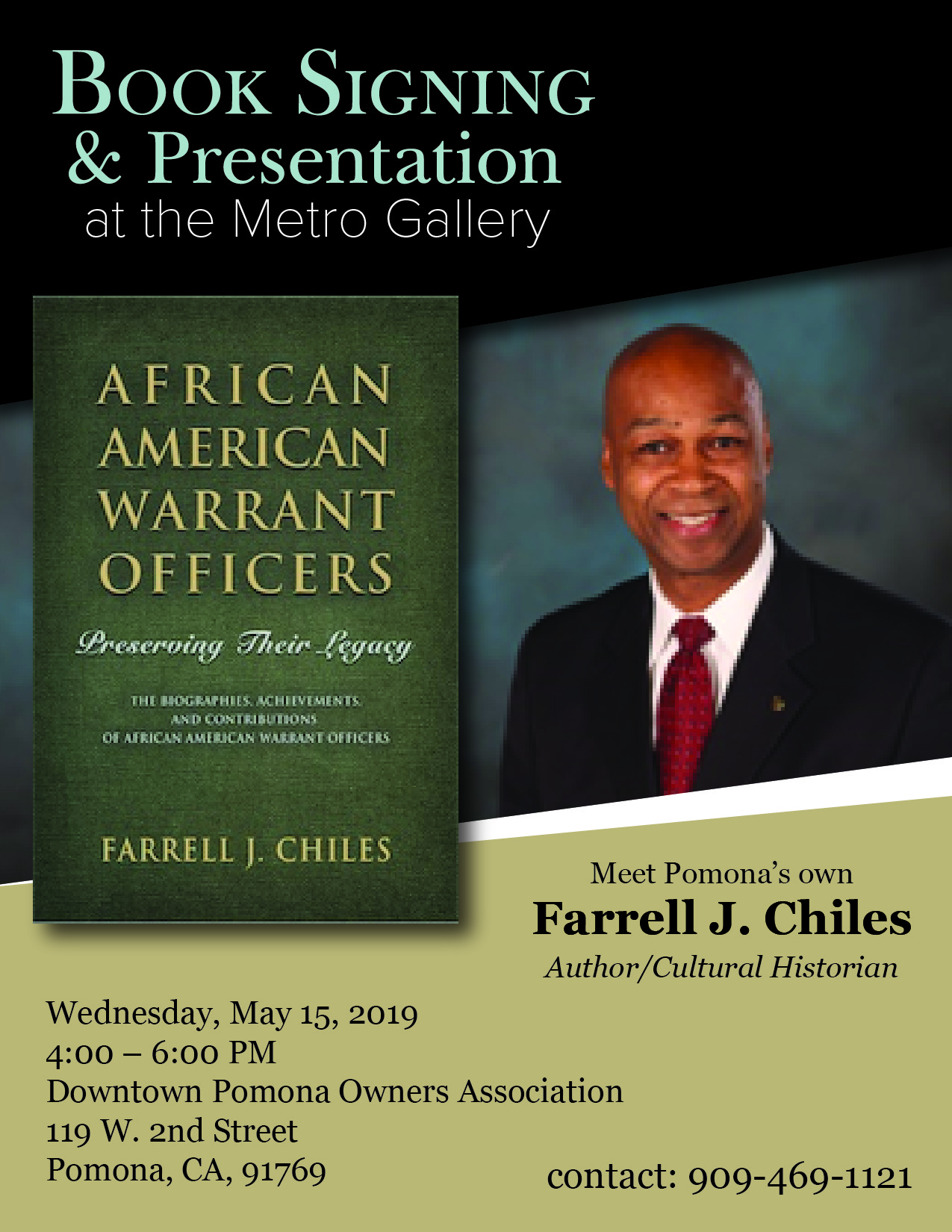 Wednesday, May 15, 4pm-6pm - Author and Cultural Historian Farrel J. Chiles will be giving a book signing and presentation.