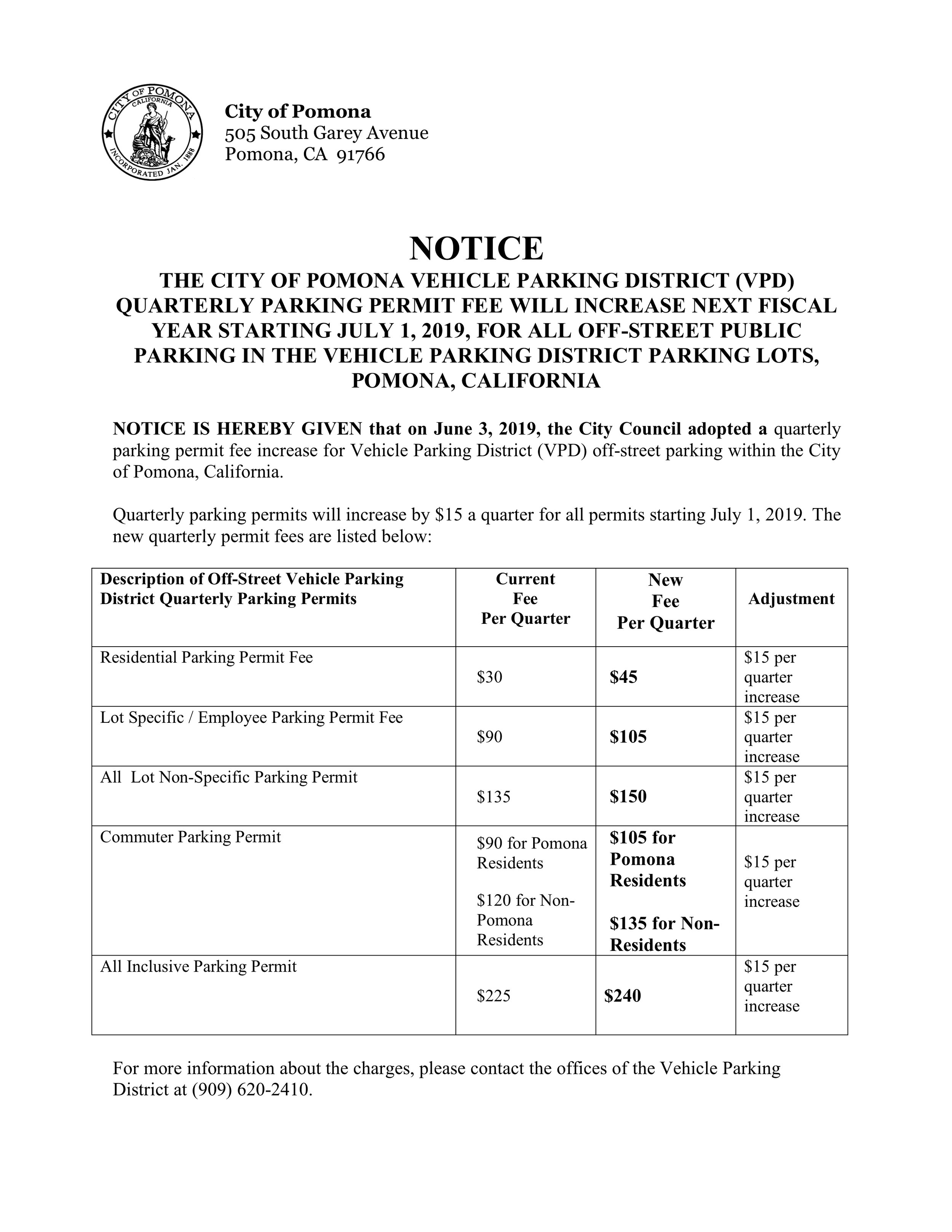 06419 PH Notice of Off Street Quarterly Parking Permit Fee Amendment 2019 POSTING .jpg