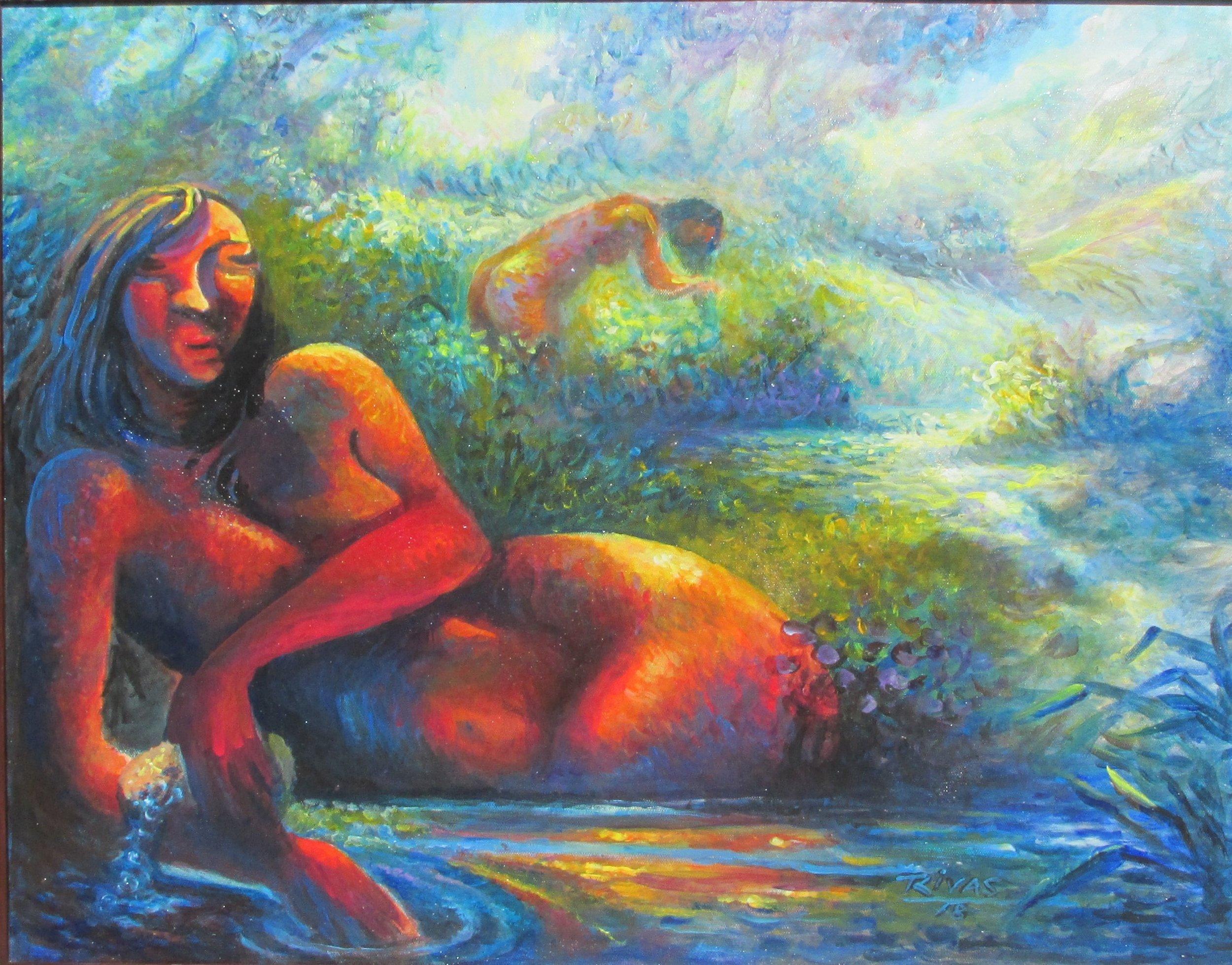 Rigo Rivas Dos Mujeres en el rio 22 x 28- Latino Art Museum