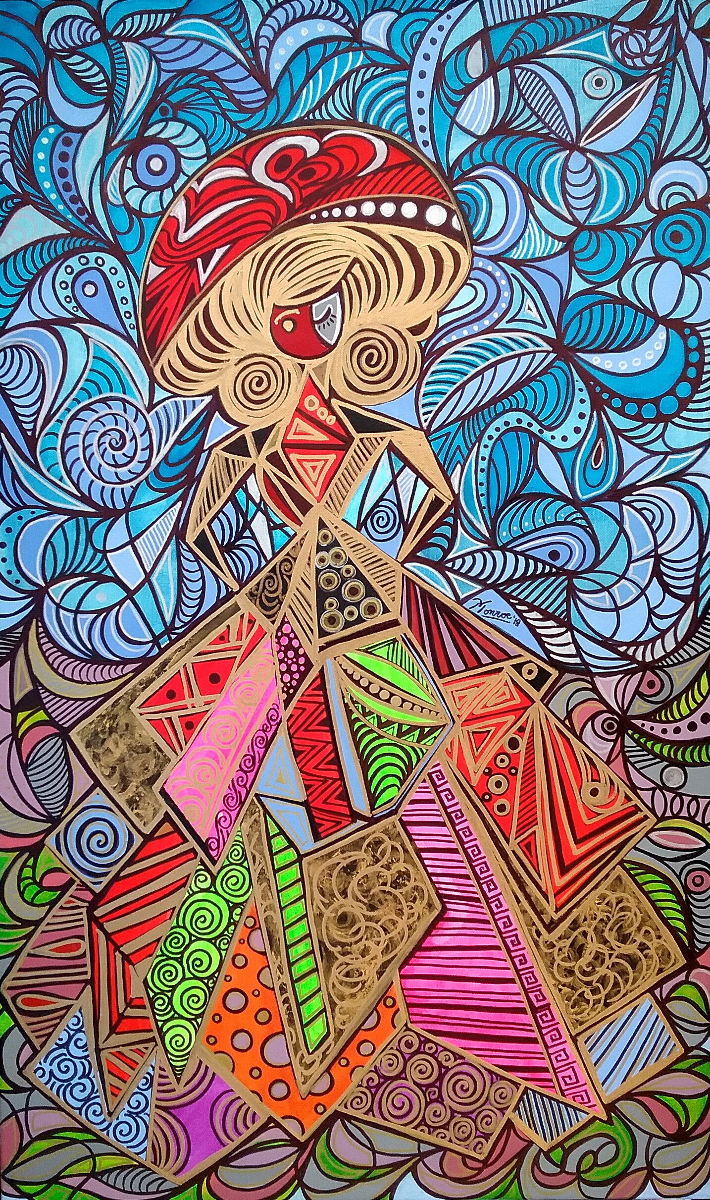 Karen Pinto Monroe The Lady Mixed Media on Canvas 100 x 60cm- Latino Art Museum