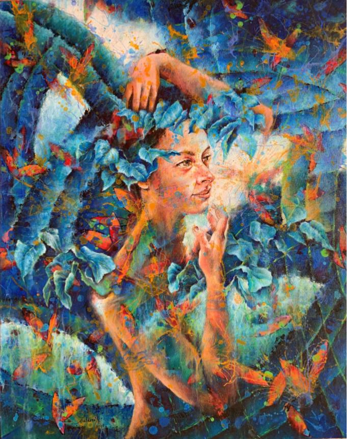 Adela Calderon - Bosque Azul con Luciernagas - Acrilico sobre Tela 75x95cm-LAM