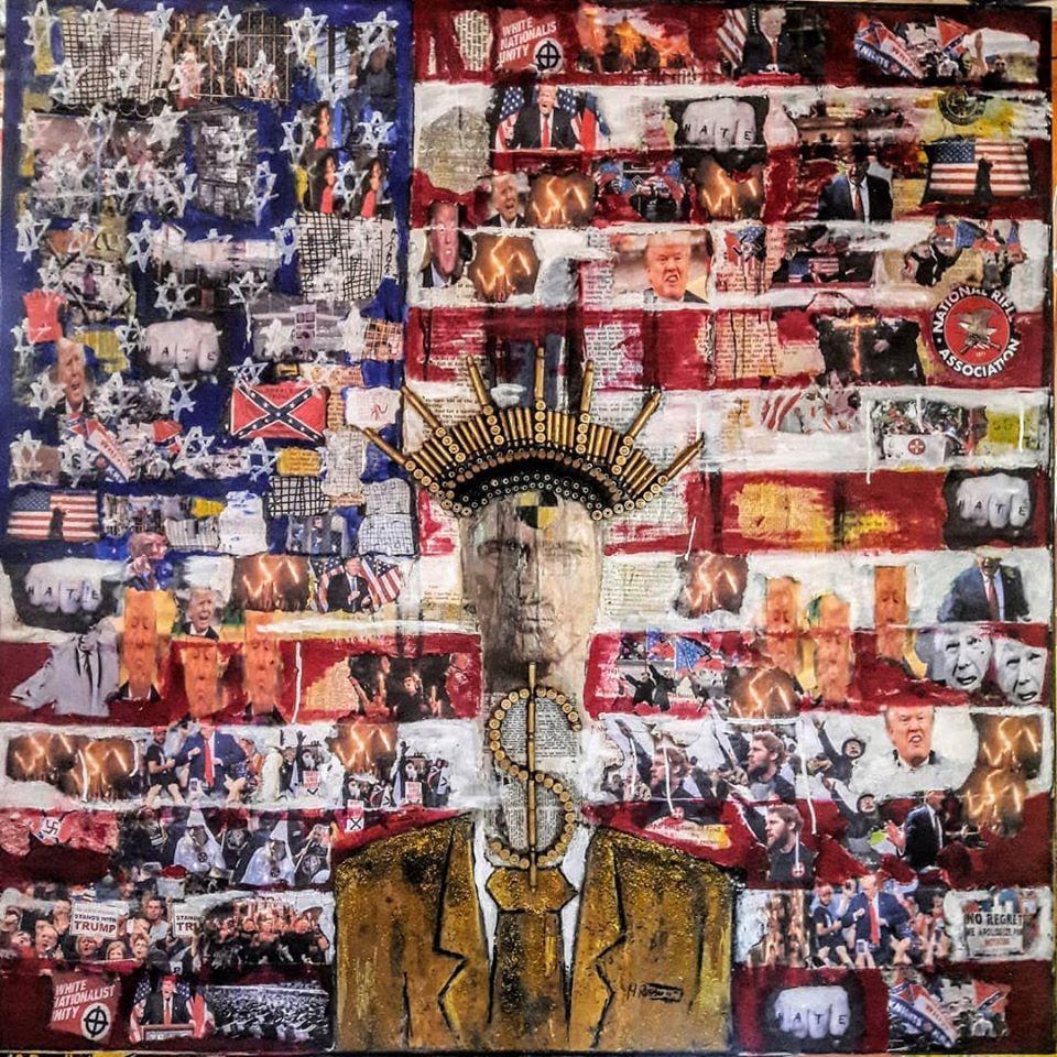 Mati Russo, Amerikkka, Mixed Media on Wood 48x48, 2019