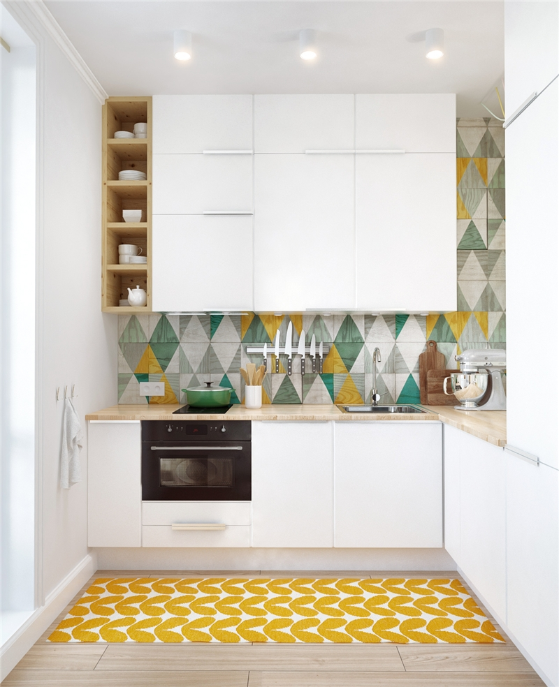 Patterned tile in your kitchen or bathroom is great, but taking a color out of it and reproducing it in your textiles or dinnerware is even better! How pretty is this? ( source )