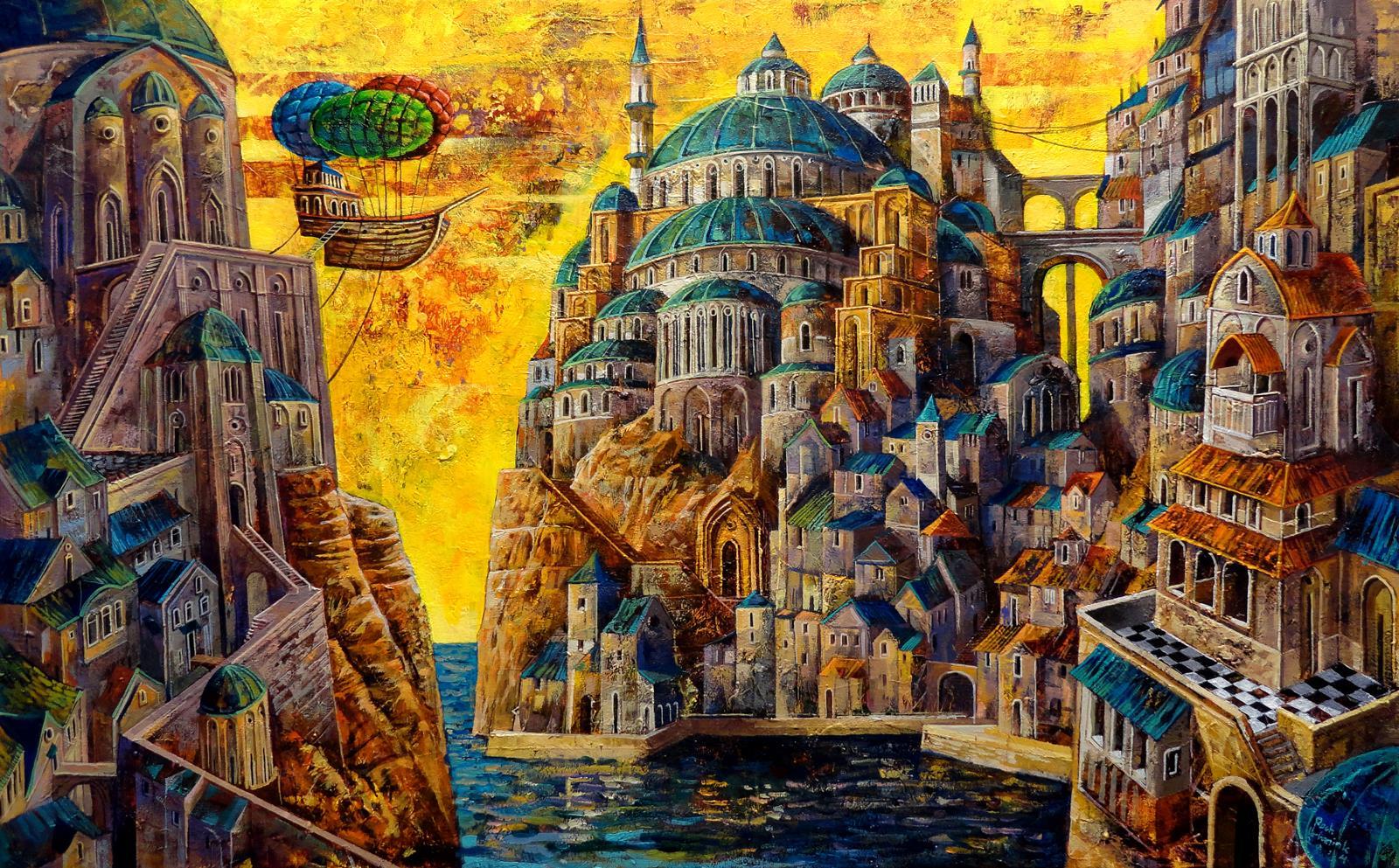 SOLD: Acrylic on canvas, 50 cm x 80 cm, by Roch Urbaniak