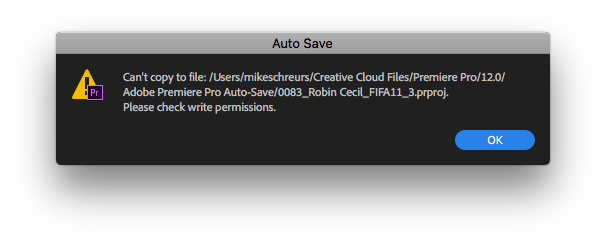 Cannot Save to External Hard Drive Error - Check Write Permissions