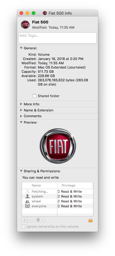Get Info Window on External Drive