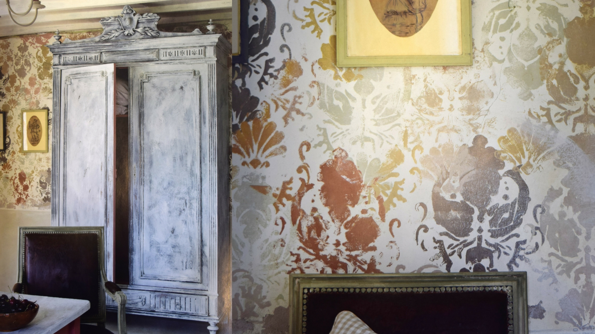 Layers of paints and glazes using pattern and distressing to give a worn wallpaper look. Stenciled patters can also be applied in more of a clean modern fashion like the metallic allover pattern pictured below. Customize pattern, colours and style to suit your space.