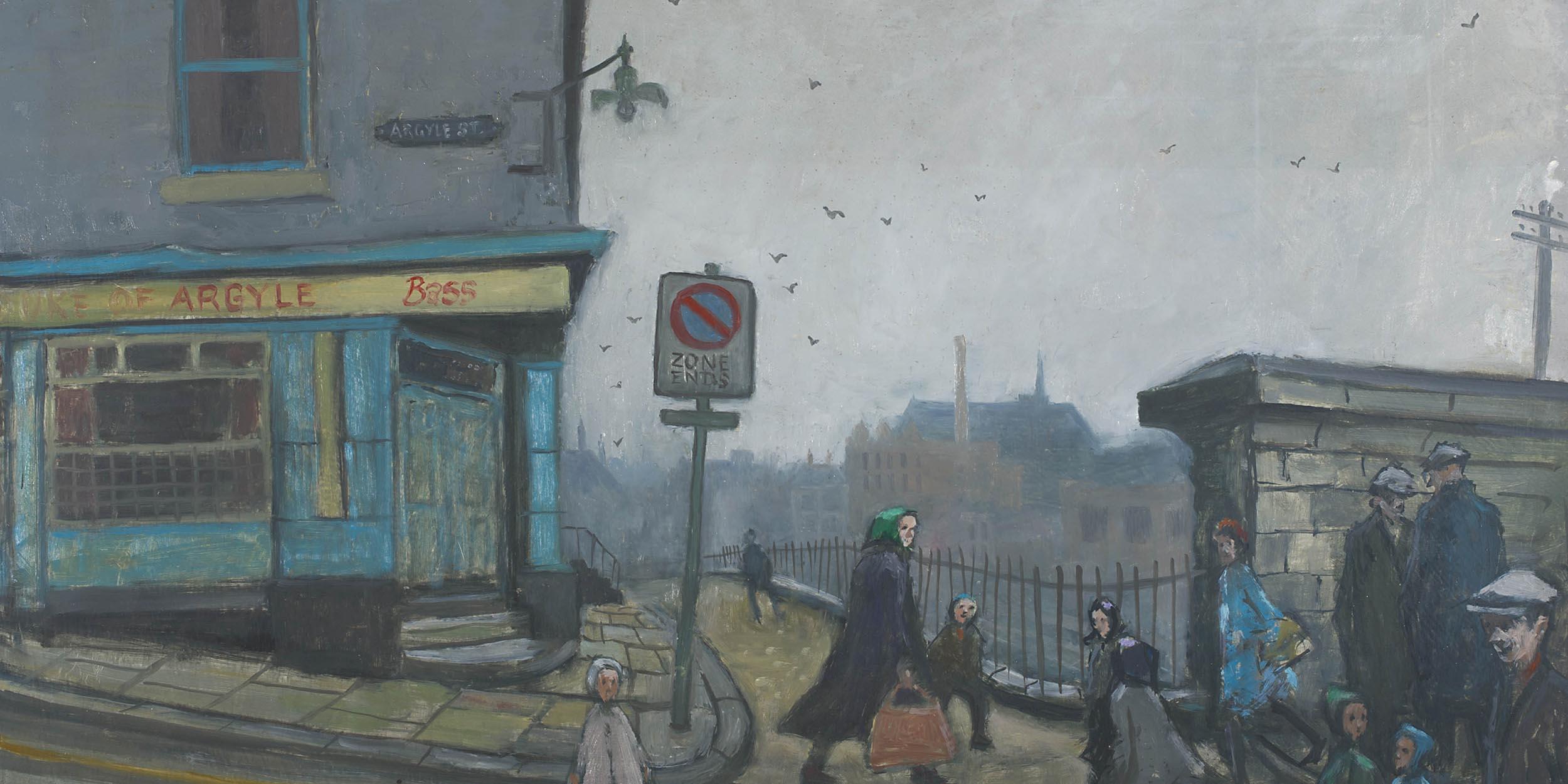 Norman Cornish , Argyle Street - Oil on board, 46 x 79cm