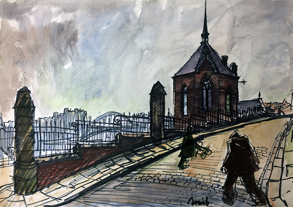 Norman Cornish, Sailors' Bethel, Quayside, Newcastle upon Tyne, Ink and watercolour on paper.JPG