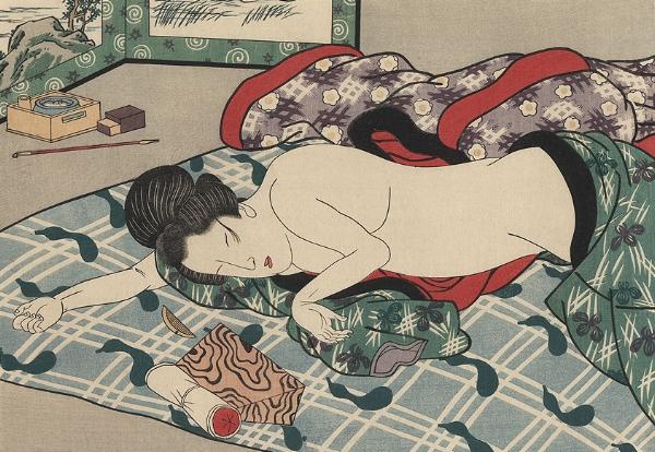 Japanese Woodblock Print - Woman Sleeping