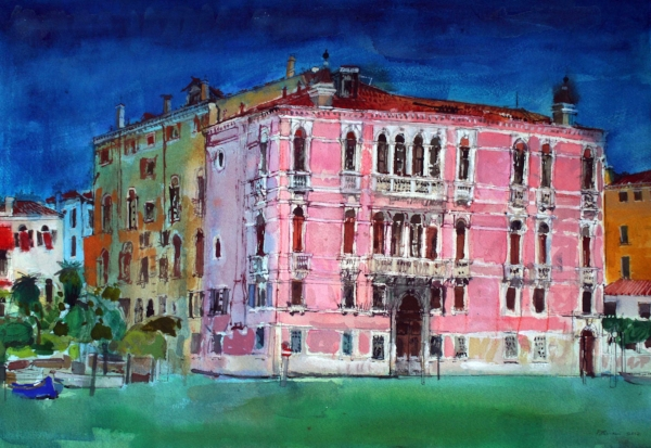 Peter Quinn, Palace, Grand Canal, Venice, watercolour on paper