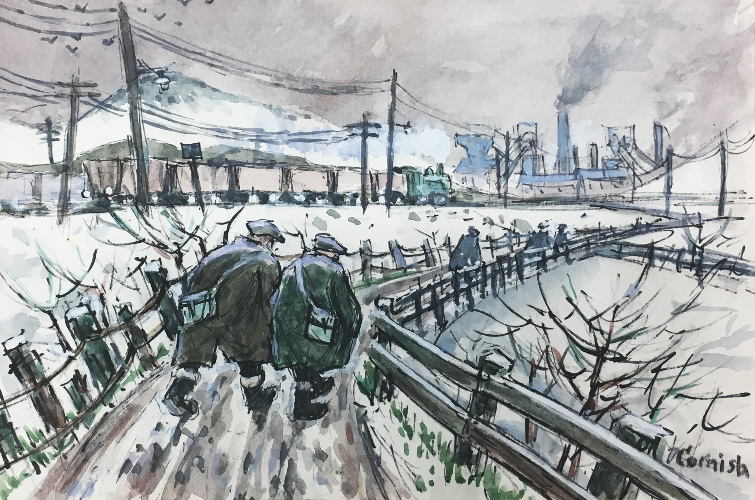 Two Miners on Pit Road  Ink and watercolour on paper 14.5 x 20.5cm