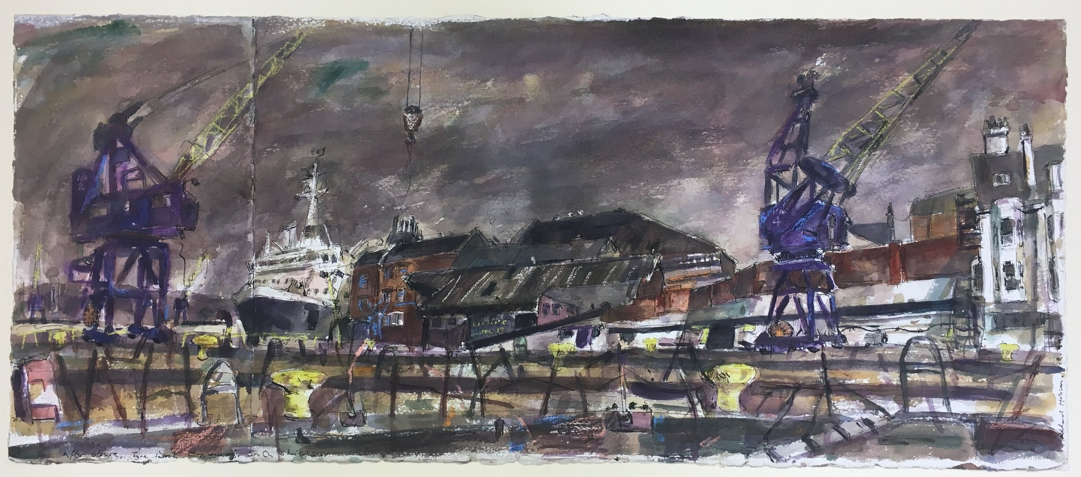 After Closure, Tyne Dock Engineering, South Shields, 1999  Ink, watercolour and pastel on paper 42.4 x 99.1cm