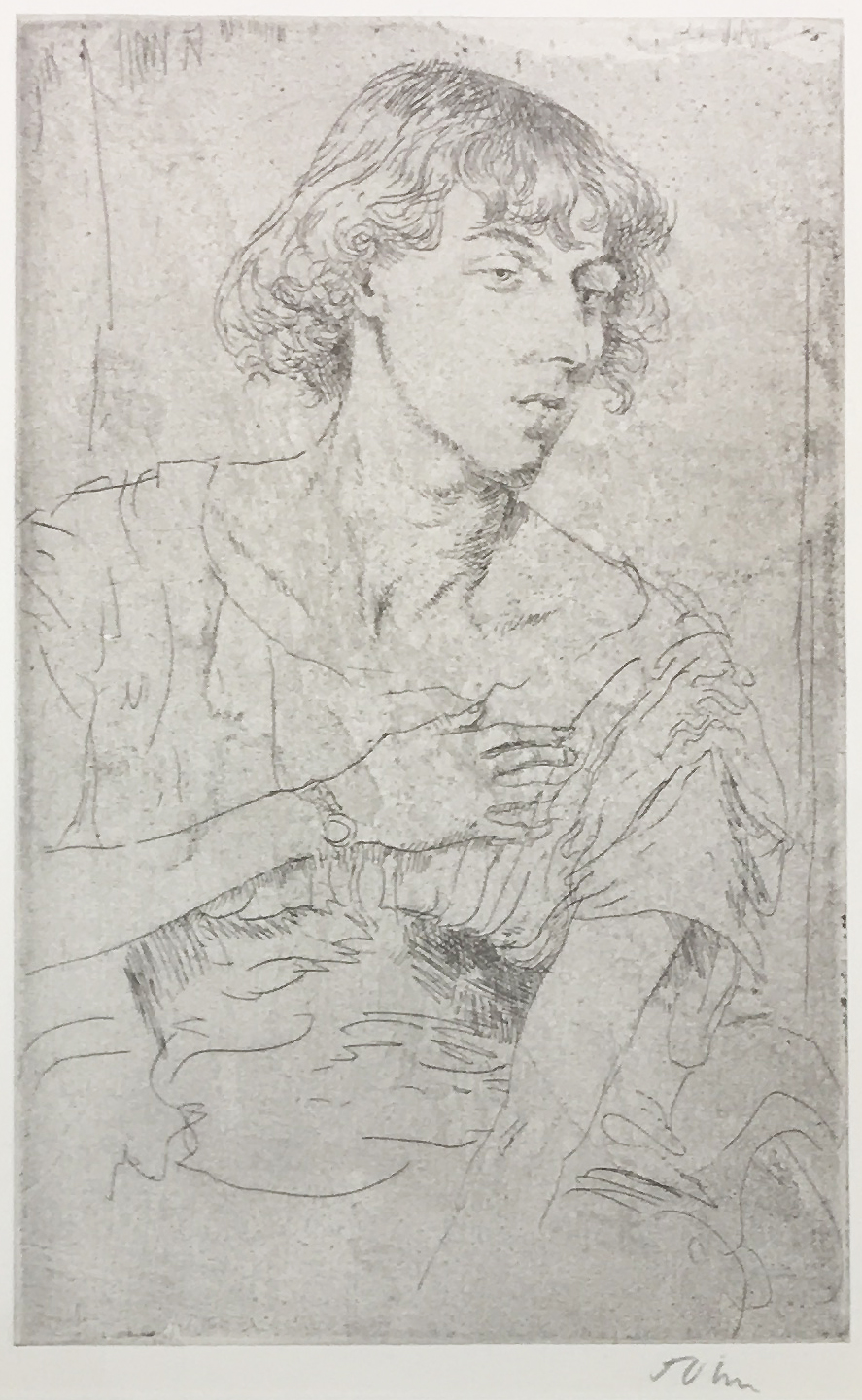 Portrait of Young Woman  Etching 19.5 x 12.2cm