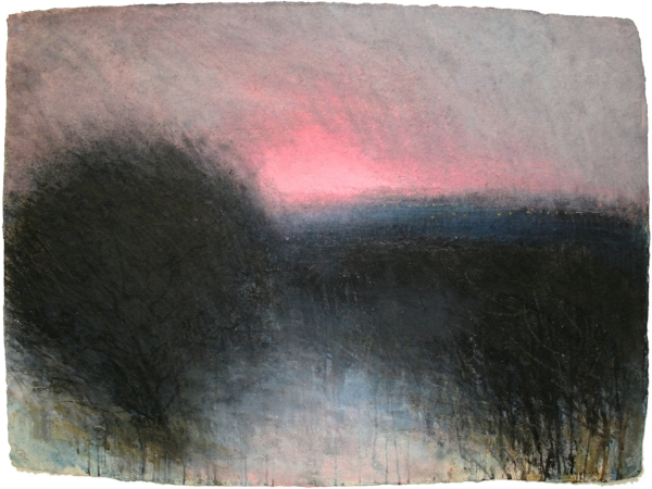 New Years Day, Before Sunrise  Mixed media on handmade paper 57.5 x 77.5cm