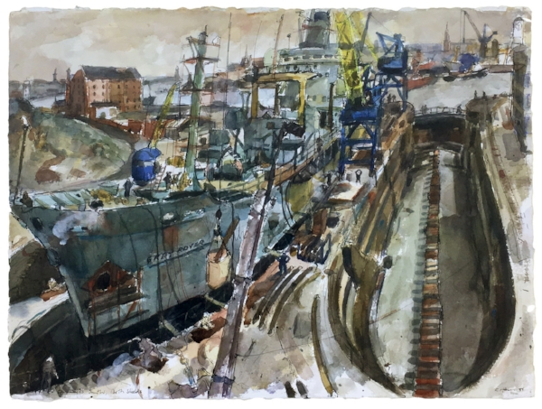 Smiths Dock, North Shields, 1988  Watercolour on paper 55 x 77cm