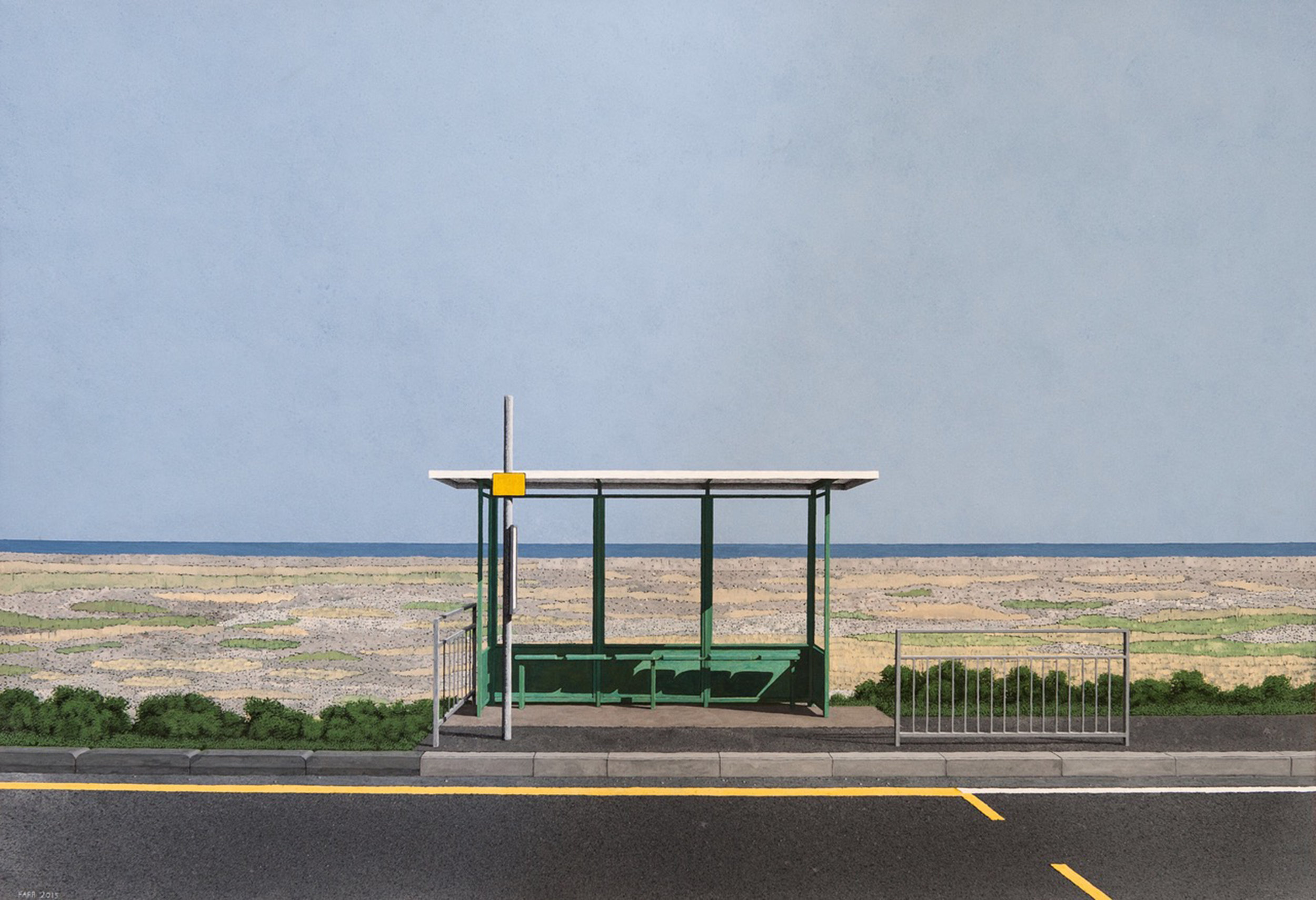 Peter Farr ,  Bus Stop: New Romney , Tempera on board