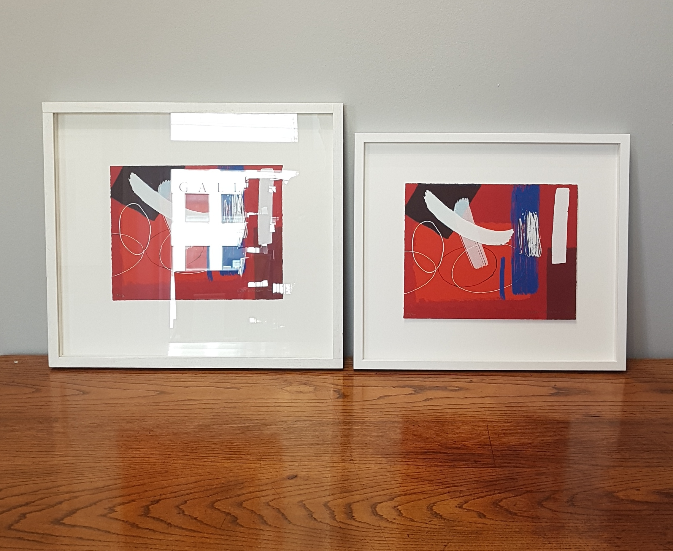 An example of the difference anti-reflective glass can make on these identical prints by Wilhelmina Barns-Graham CBE, with crisp detail and full, rich colour visible with the specialist glazing on the right.