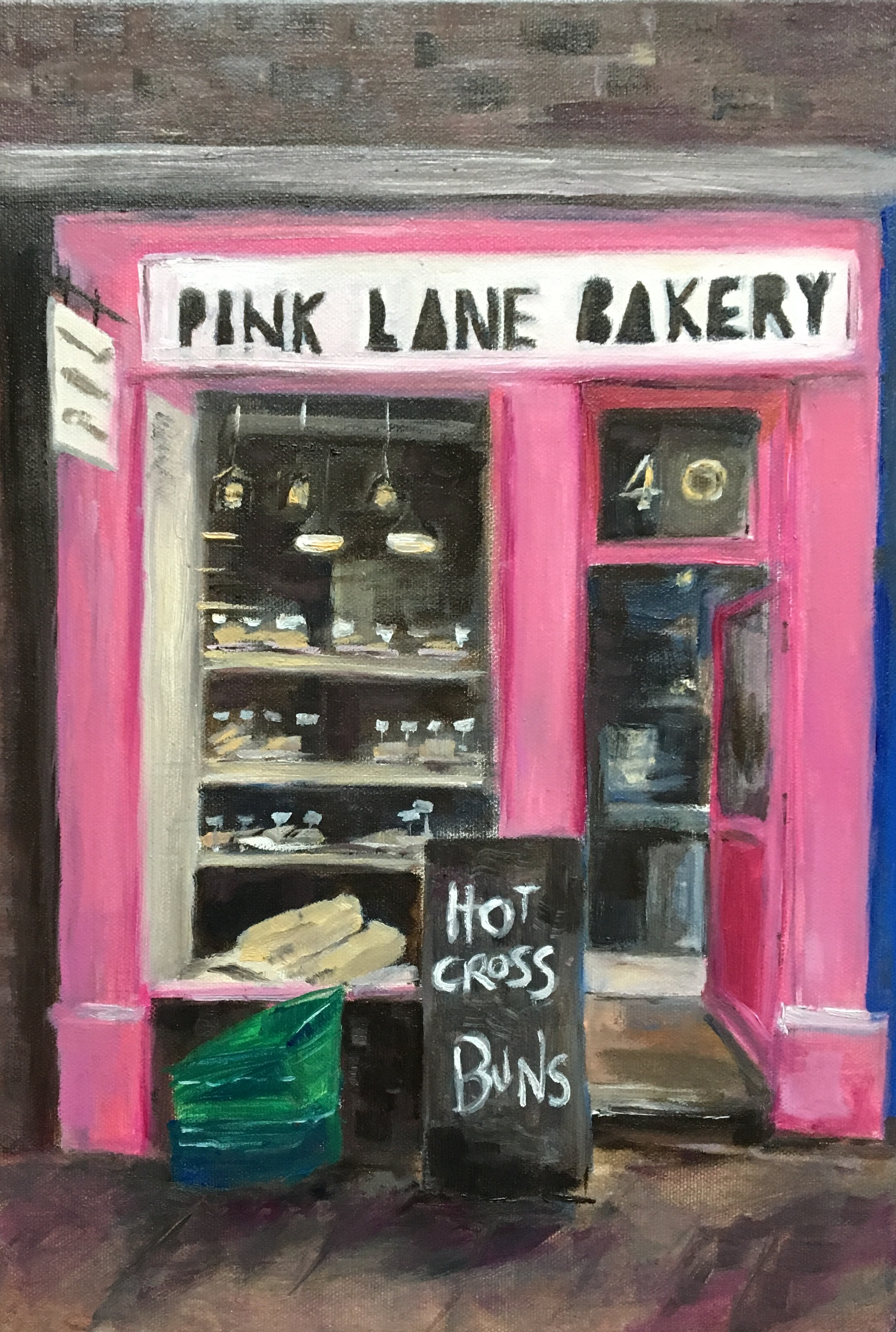 Pink Lane Bakery , Oil on canvas, Maria Laffey