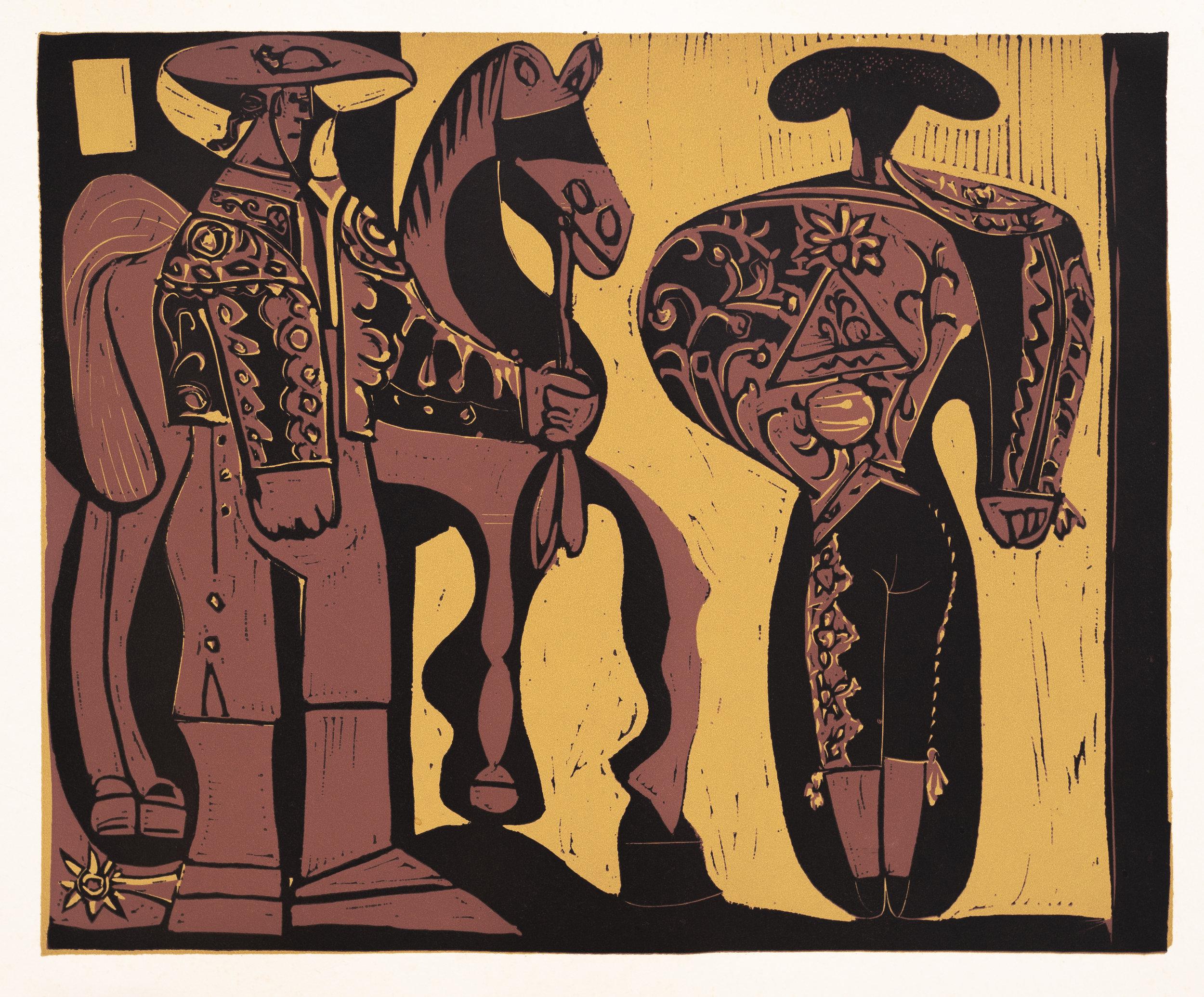 Picador and Matador,  1962, Linocut