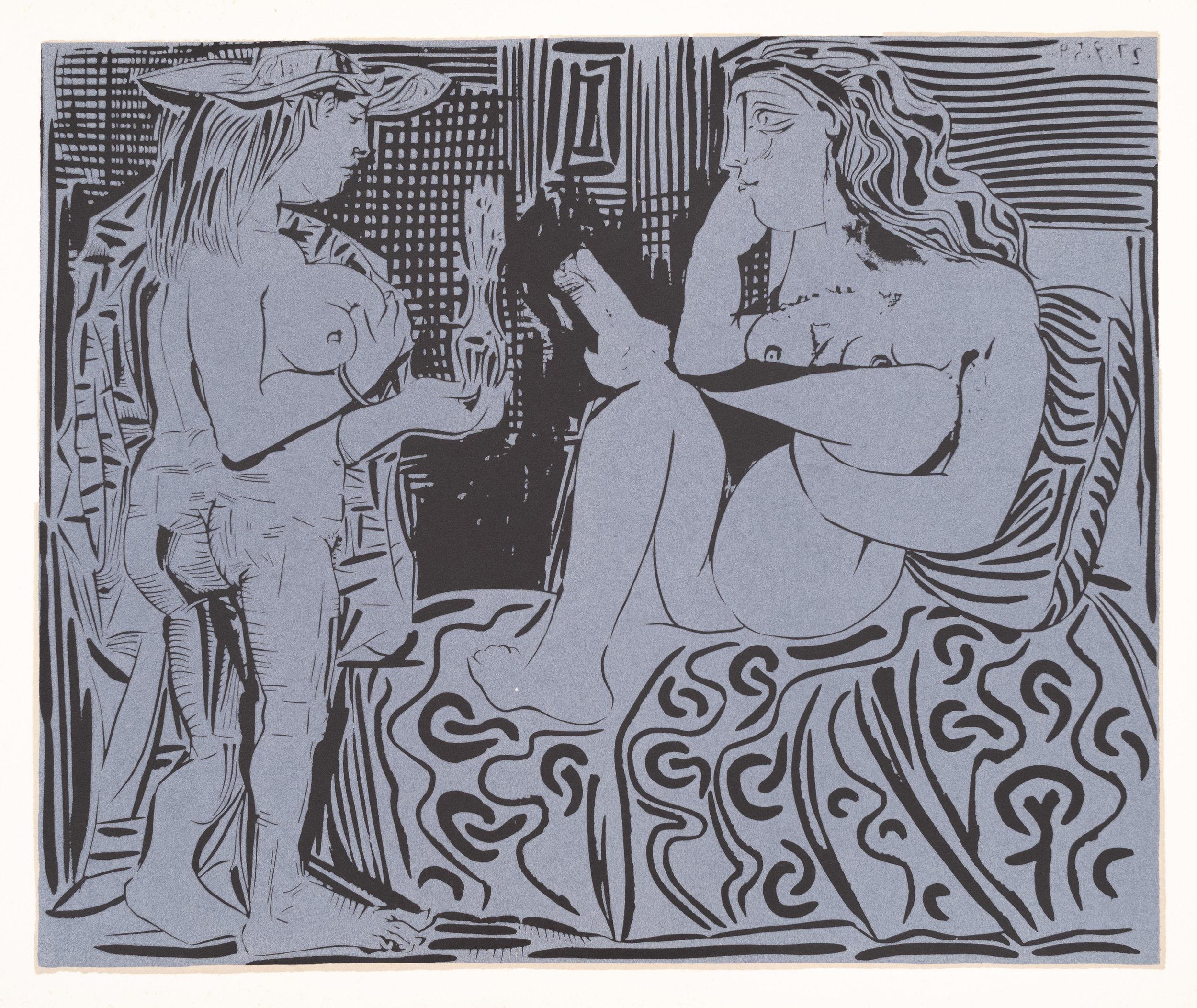 Two Women, 1962, Linocut