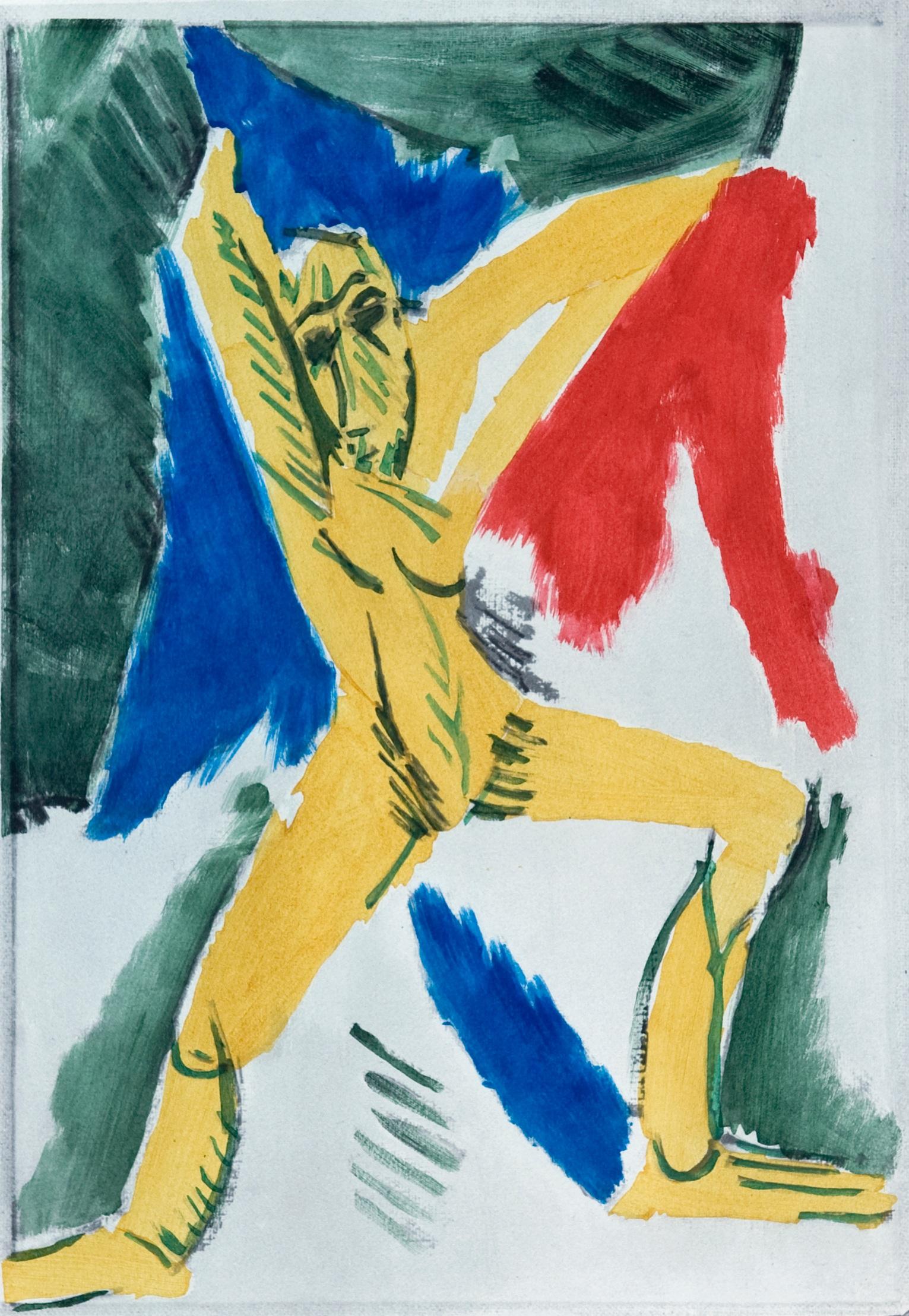 Studio pour Les Demoiselles d'Avignon , Hand-coloured pochoir, 1955