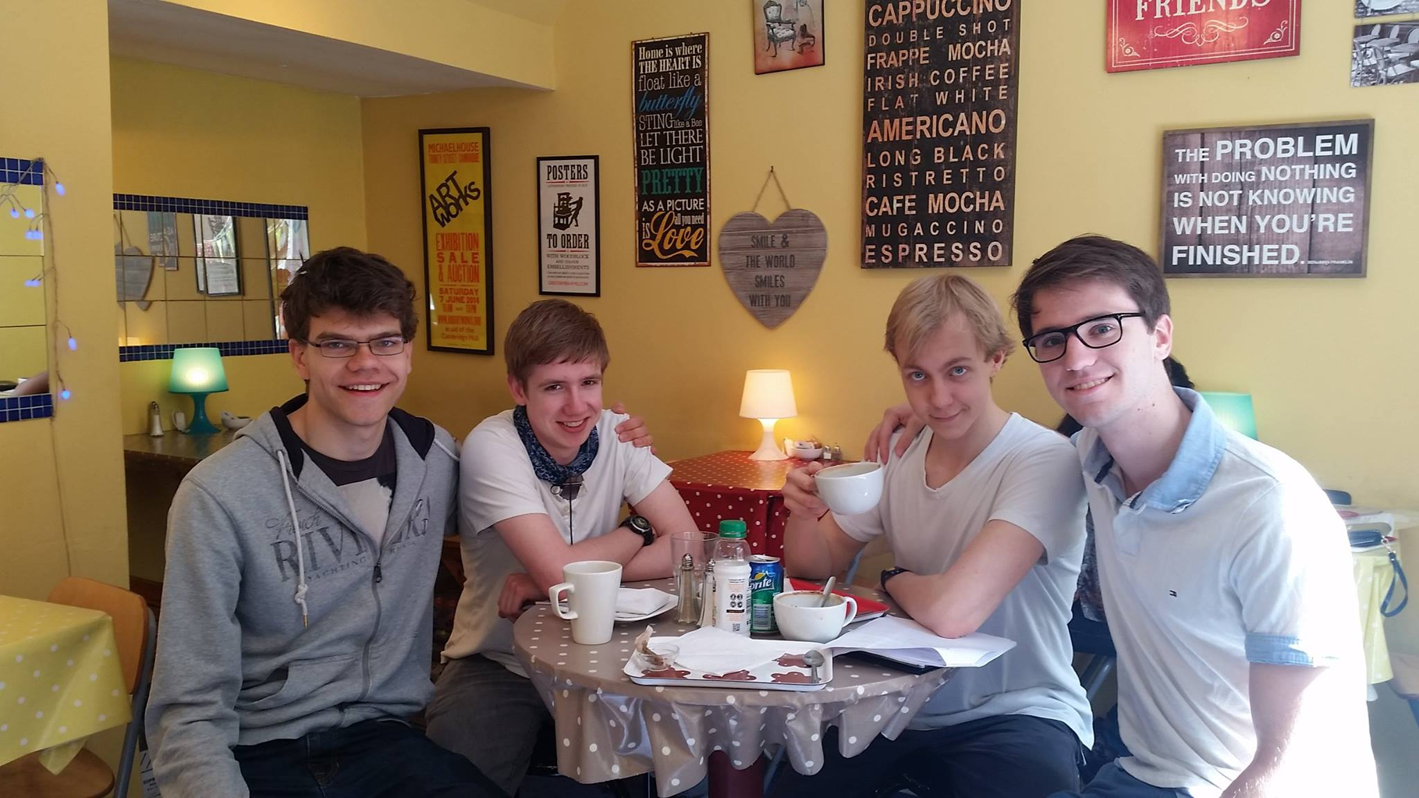 Myself and the Physics crew, enjoying our last post-second-year-physics-lecture coffee in the TUF cafe