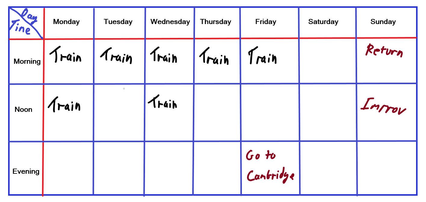 These all read 'train' because I didn't really have much of a programme. I would show up and just work hard on  something   Sessions a week: between 5 and 7  Total time training a week: 5-6 hours.