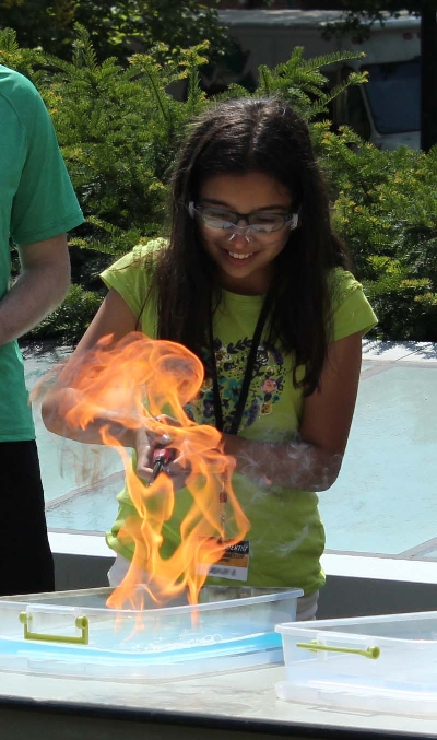 SPICE Camper Demonstrating a Butane Bubble Fire (2015). Image Credit: A. Evensen