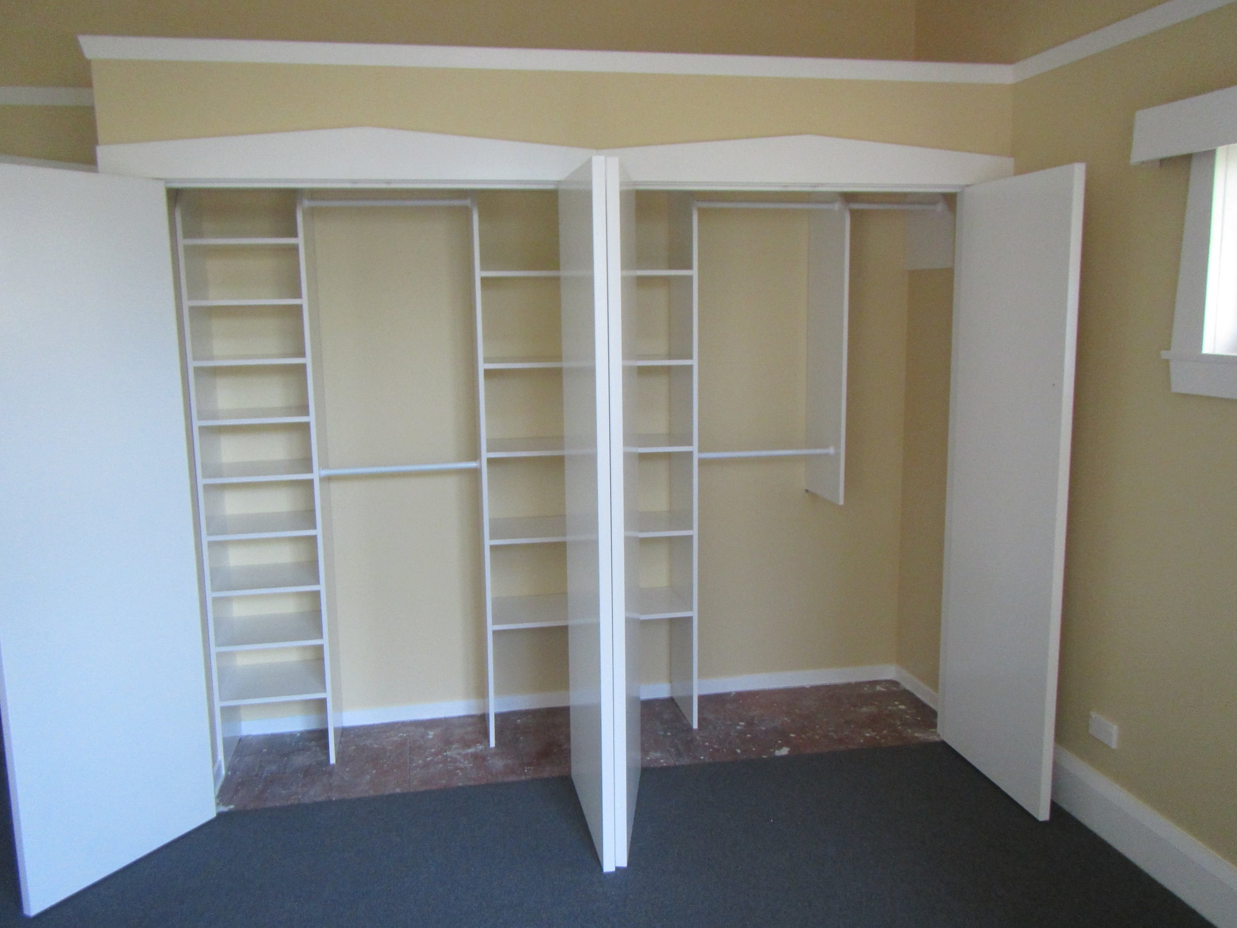 Option: Melamine Solid Shelving + Hanging