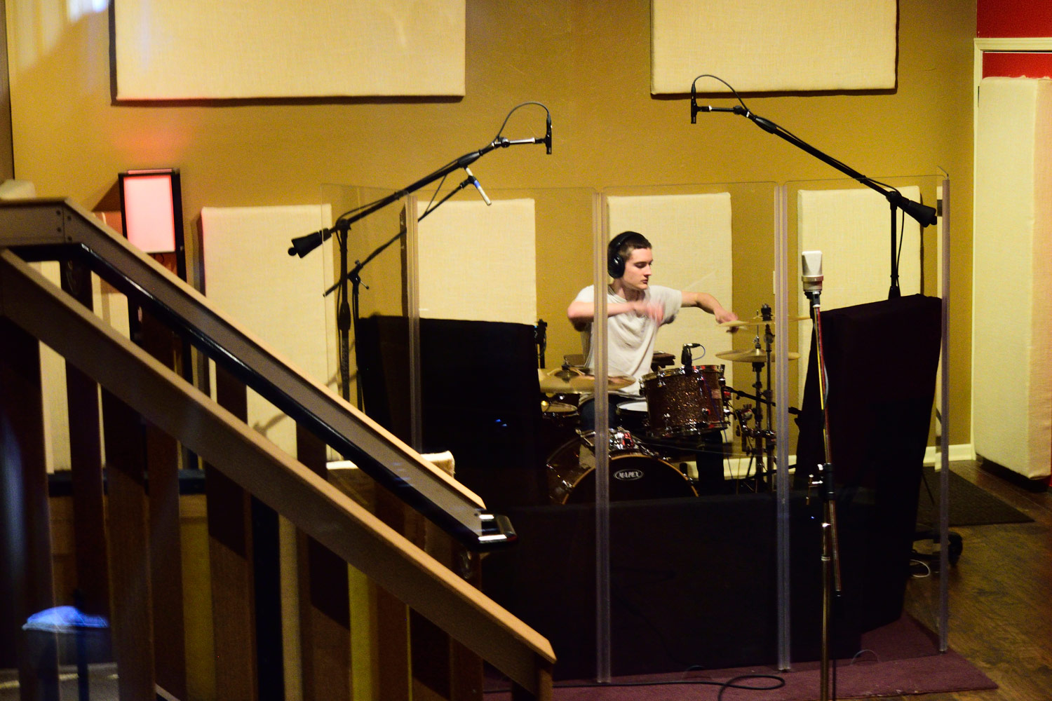 Ethan Rietz recording drums for Echoes In Me