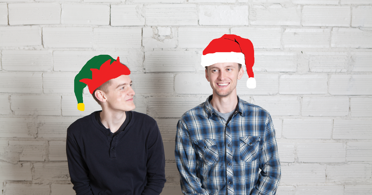 The Wire Frames in Christmas hats
