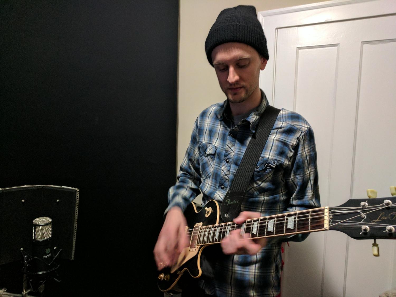 Curtis Weigel recording guitar