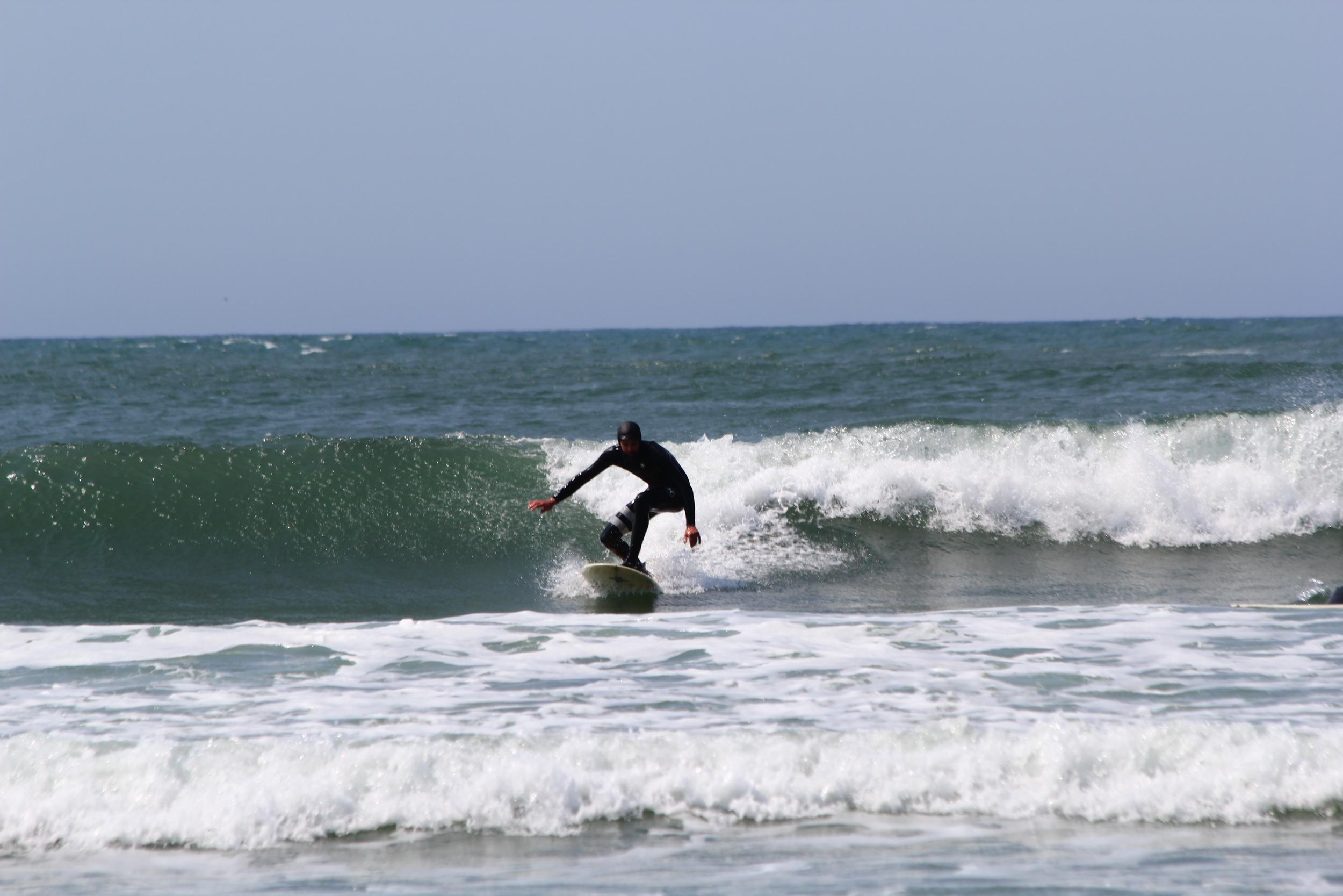 SURFING SHORT SANDS BEACH OREGON