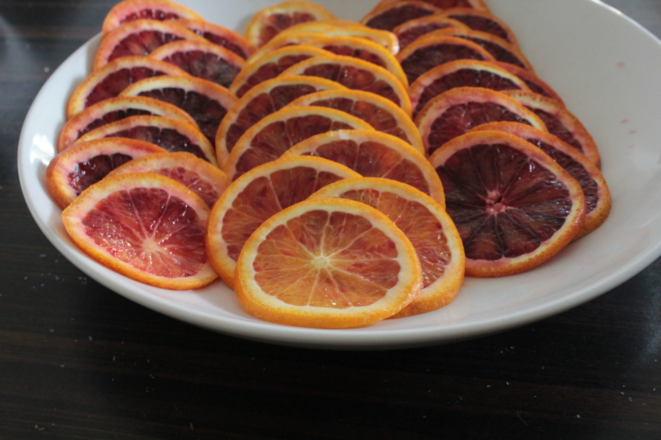THINLY SLICED BLOOD ORANGES