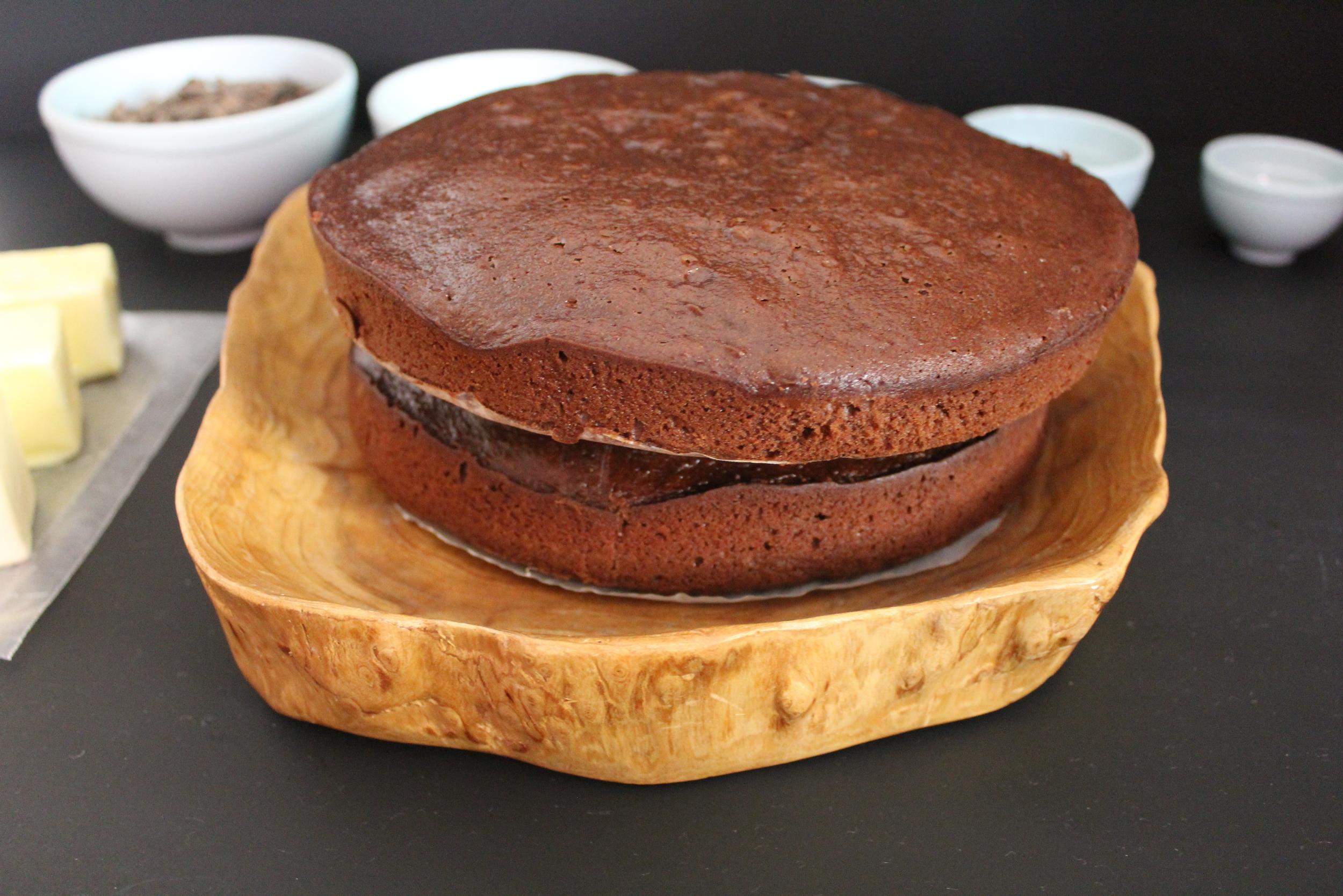salted dark chocolate caramel cake