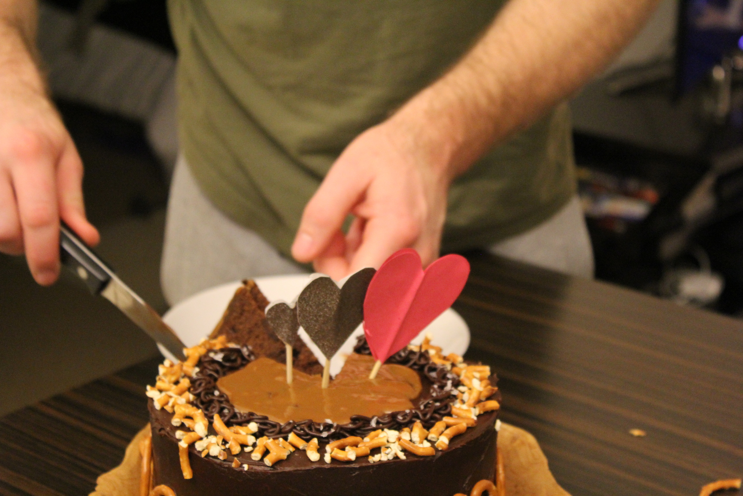salted caramel and dark chocolate caramel cake