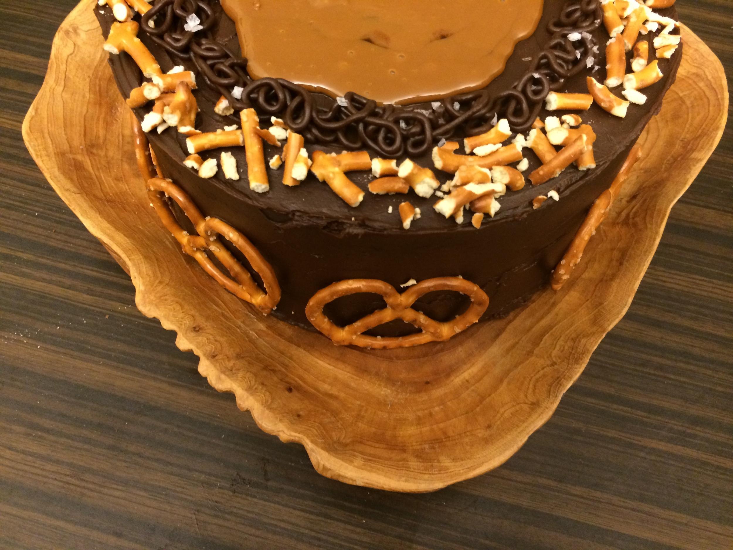 salted dark chocolate and caramel + pretzel cake
