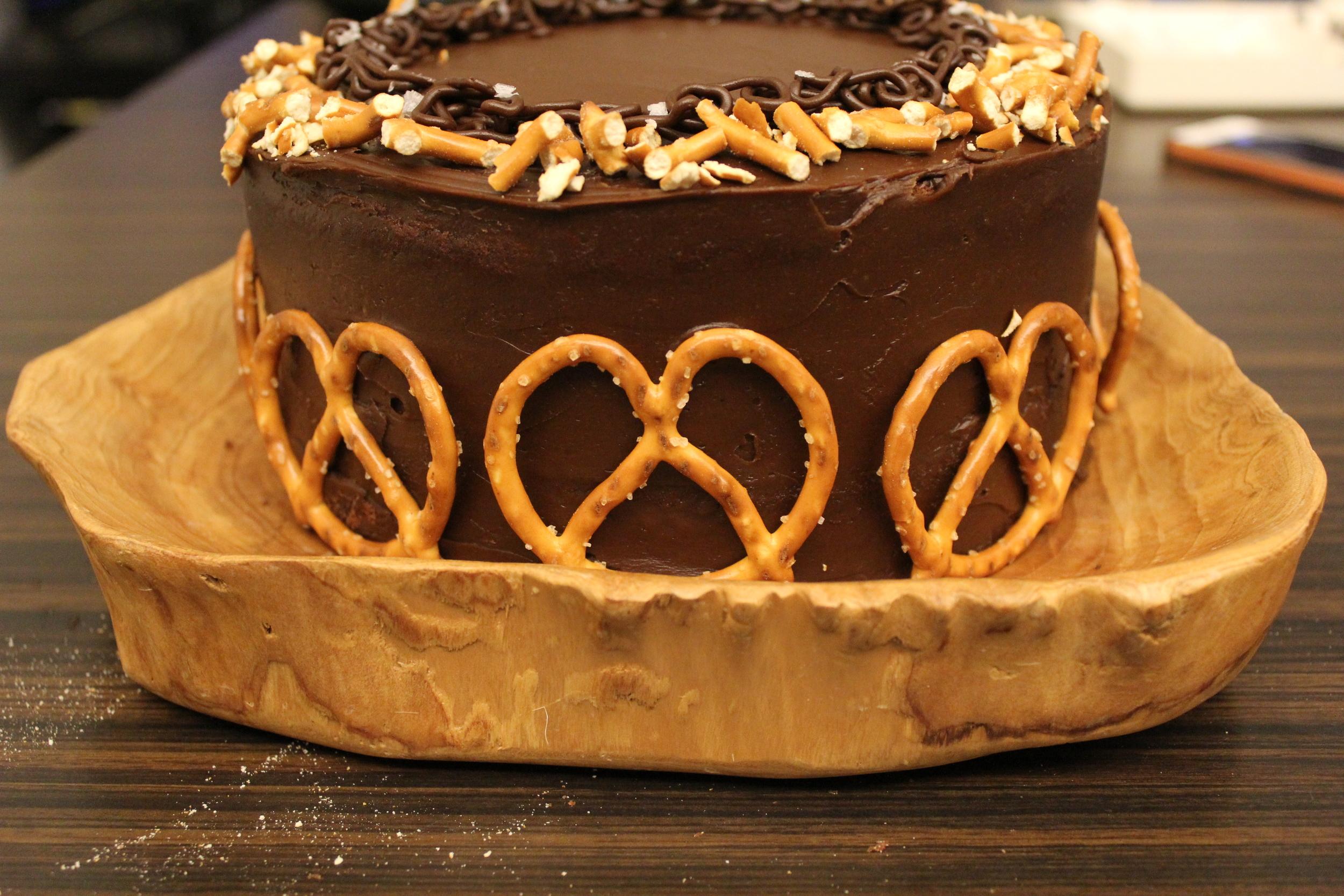 salted caramel and dark chocolate + pretzel cake