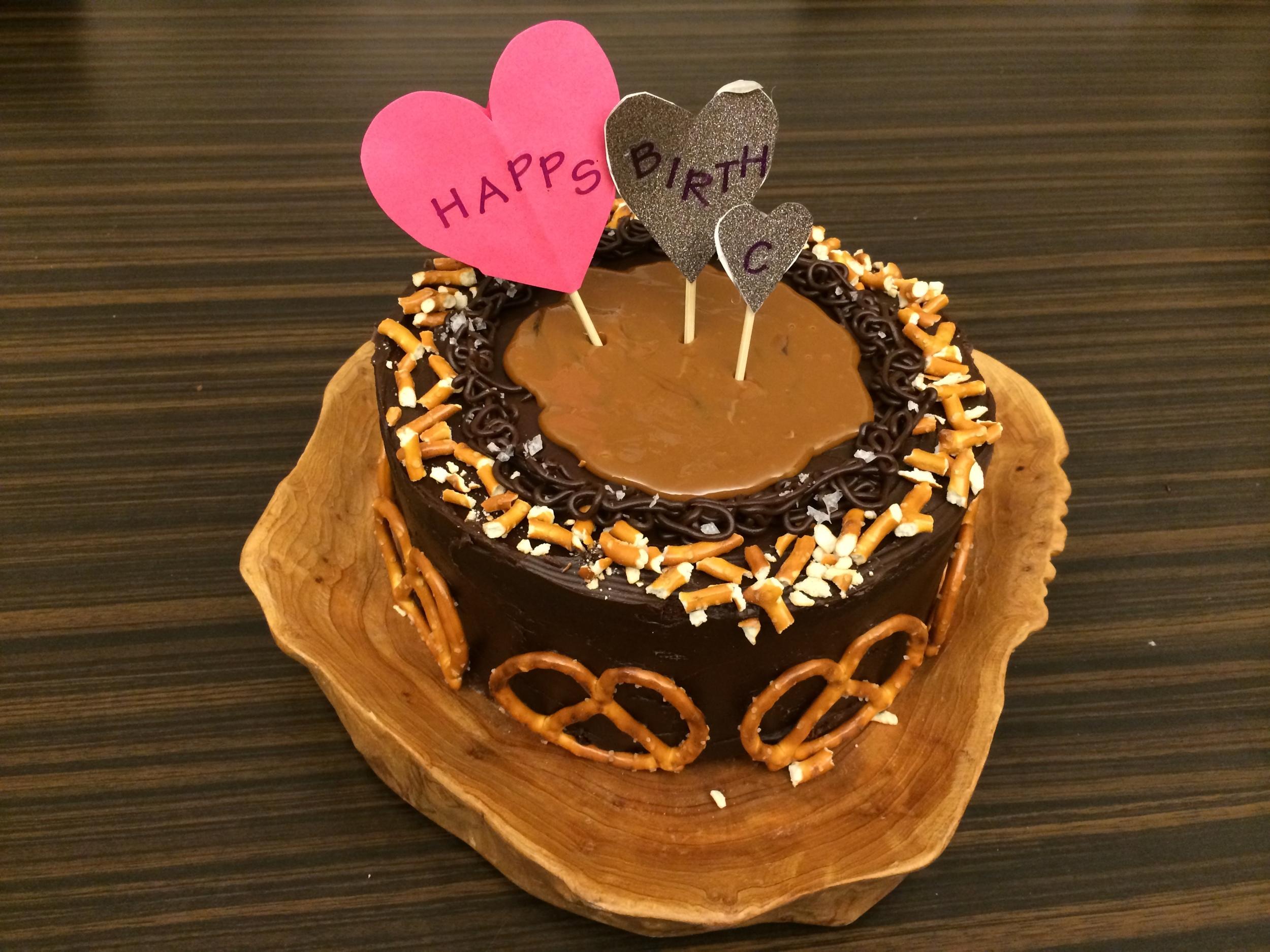 salted dark chocolate and caramel cake
