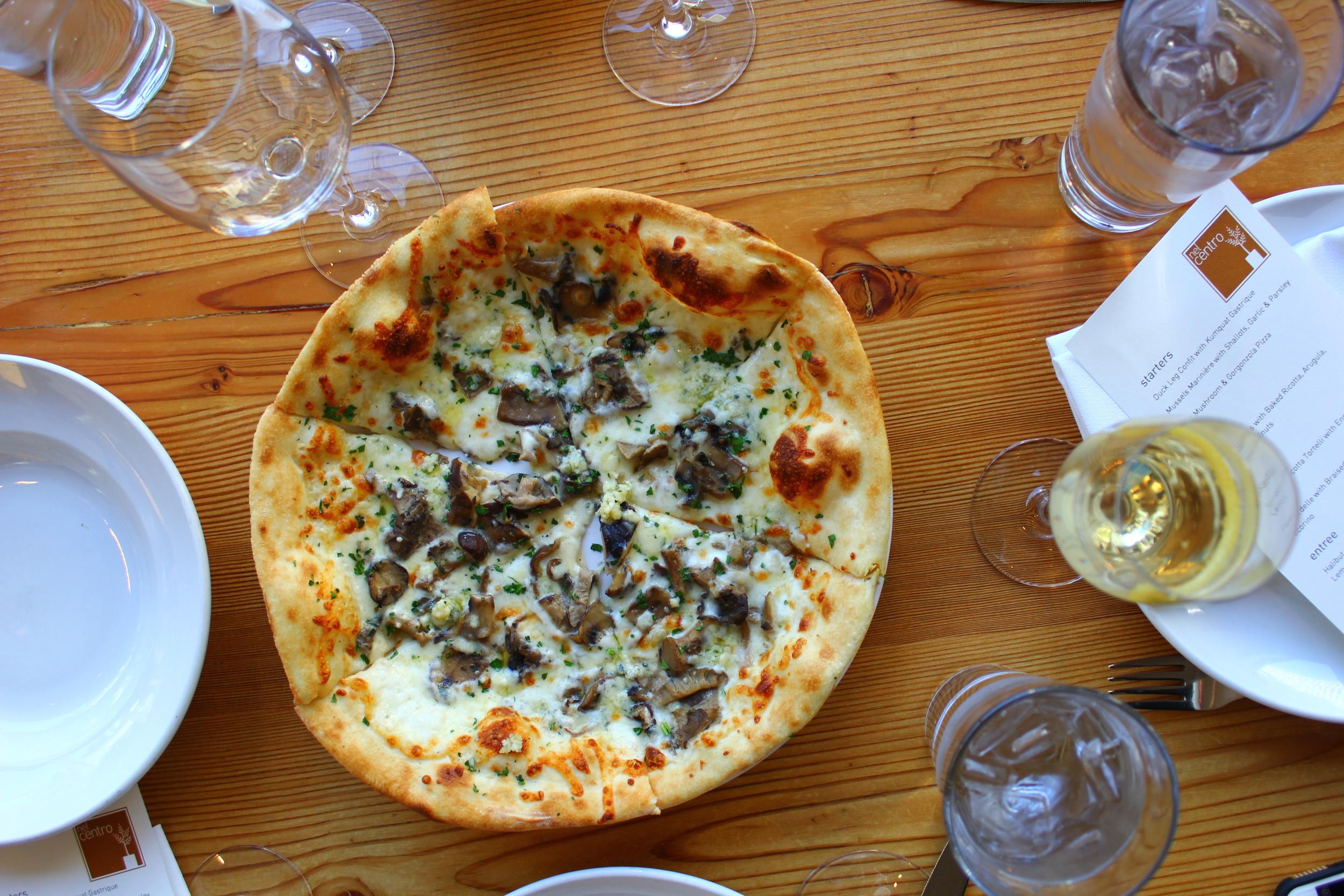 wild mushroom + gorgonzola pizza
