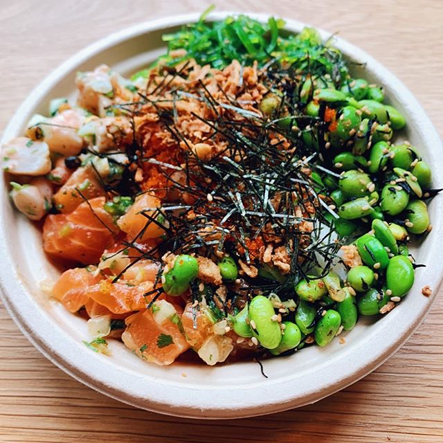 Salmon and Shrimp Poke rice bowl topped with furikaka and fried onion because that how I like my Seasweets Poke Rice Bowl!⁠⠀ ⁠⠀ Customizable rice and salad poke bowls from @seasweets now available West of the river in Beaverton.⁠⁠⠀ ⁠⠀ #maxeneeatspdx ⁠⠀ ⁠⠀ -⁠⠀ -⁠⠀ -⁠⠀ #eaterpdx #portland #chasinglight #topcitybites #YelpEatsPDX  #portlandfood #travelportland #pokebowl #japanesecuisine #hawaiianfood  #insiderfood #foodspotting #gloobyfood #tastemade #heresmyfood #foodcoma #zagat #girlswholift #gains #eeeeeats #iifym ⁠⠀ ⁠⠀