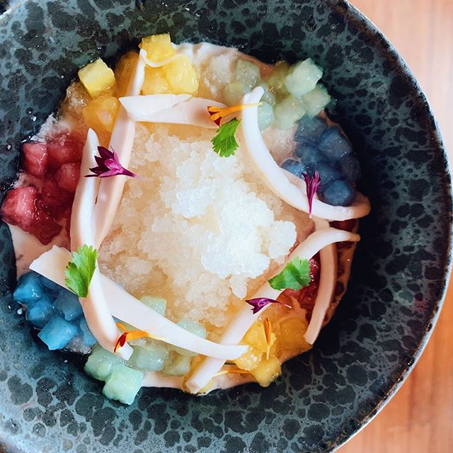 So Jacked Up💪🏼 on this colorful 🌈Jackfruit Pudding. Young Coconut, Candied Tapioca, Shaved Ice Crumbles and Cacao Juice. cold, creamy, chewy and beatiful AF!⠀ ⠀ Found on @departurepdx's dessert menu 😉Tell or tag your dessert-loving friends below and set up your next dessert date😋 ⁠⠀ ⁠⠀ #maxeneeatspdx #downtownpdx #departurepdx⁠⠀ ⁠⠀ ⁠#eaterpdx #portland #chasinglight #topcitybites #YelpEatsPDX  #portlandfood #travelportland#foodspotting #gloobyfood⁠ #thaifood #theartofplating #sweettooth #icecreamsocial #jackfruit #zagat #portlandfoodie #gains ⁠#sugarrush⁠⠀